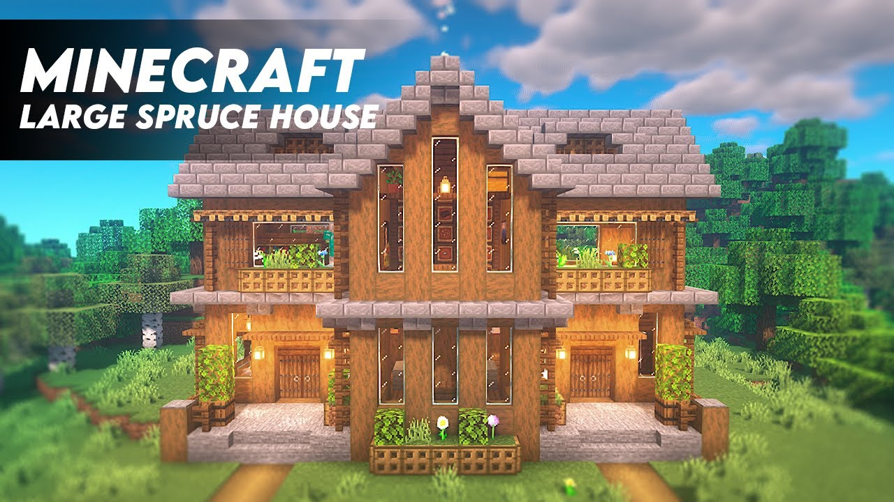 Minecraft How To Build A Large Spruce House Spruce Survival House Tutorial Download Youtube