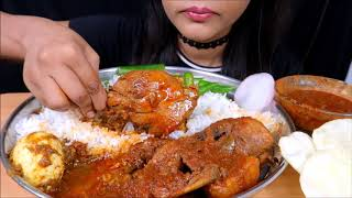 *Massive eating*Spicy chicken curry with basmathi rice (Red chicken curry)Indian food