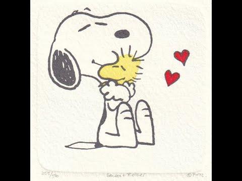 【スヌーピー】エッチング「Snoopy & Woodstock Hug」
