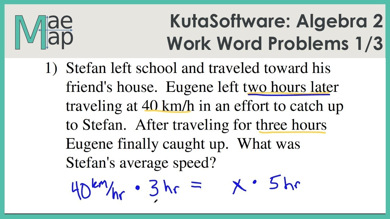 kutasoftware algebra 2 work word problems part 1 youtube
