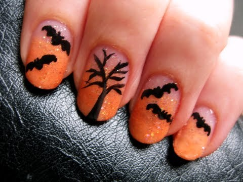 Halloween Bat Nail Art - Halloween Bat Nail Art - YouTube