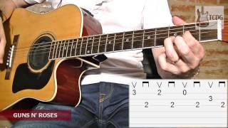 Como Tocar Sweet Child O´ Mine en Guitarra Acústica / Video Tablatura / Guns N´ Roses Tutorial TCDG