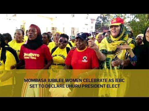 Mombasa Jubilee women celebrate as IEBC set to declare Uhuru president elect