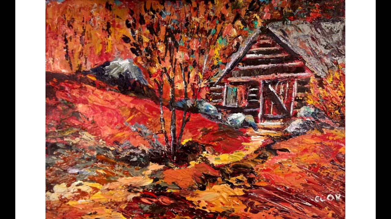 Lovefallart log cabin palette knife speed painting for Log cabin painting