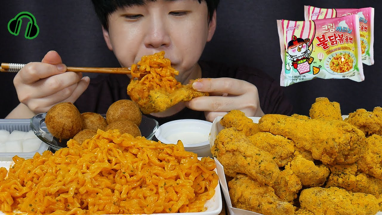 ENG 신상 크림까르보불닭에 뿌링클콤보! NEW Cream Firenoddles! Bburinkle combu chicken Mukbang ASMR DoNam 조용한먹방