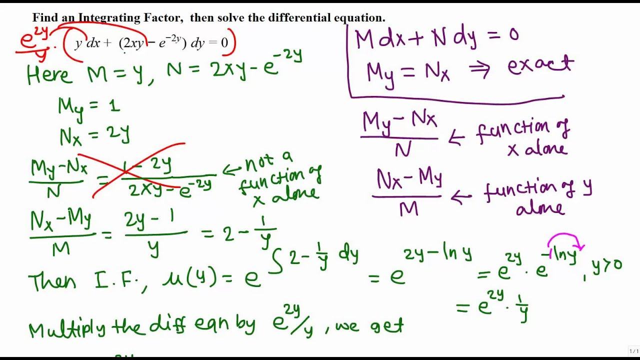Solving Non-Exact differential equations: Example 2 - YouTube