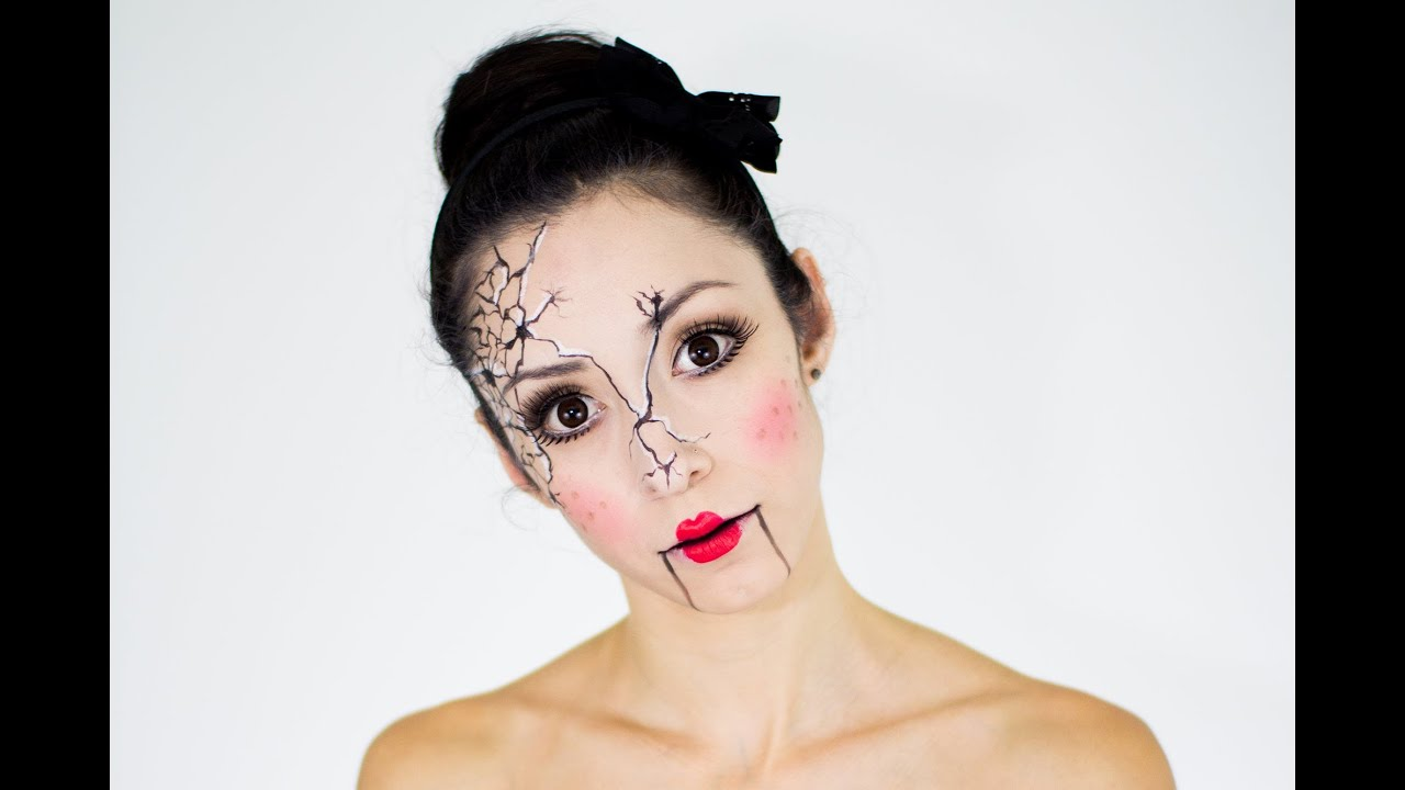 cracked doll last minute halloween tutorial - youtube