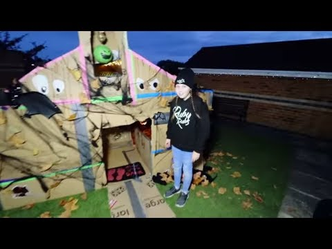 24 HOUR HAUNTED MANSION BOX FORT CHALLENGE!! SCARY BOX HOUSE TOUR!! Ruby Rube
