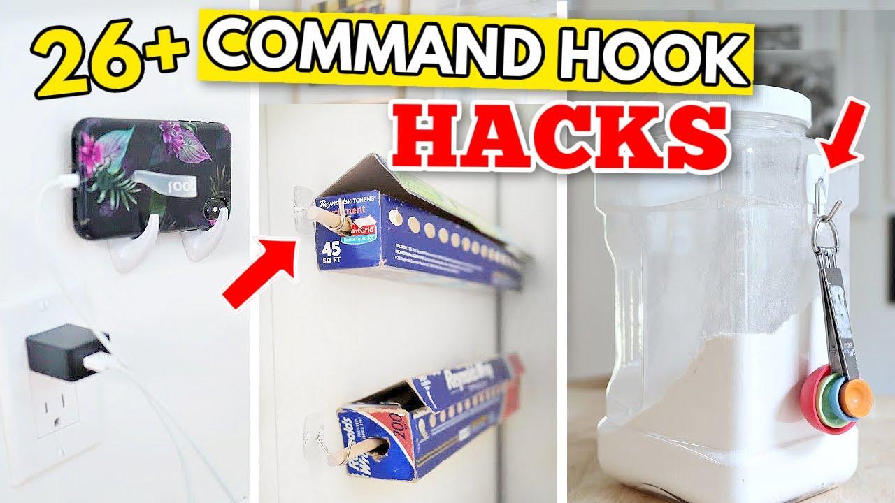 26+ GENIUS COMMAND HOOK HACKS   Uses for organization, home decor, tech & more!