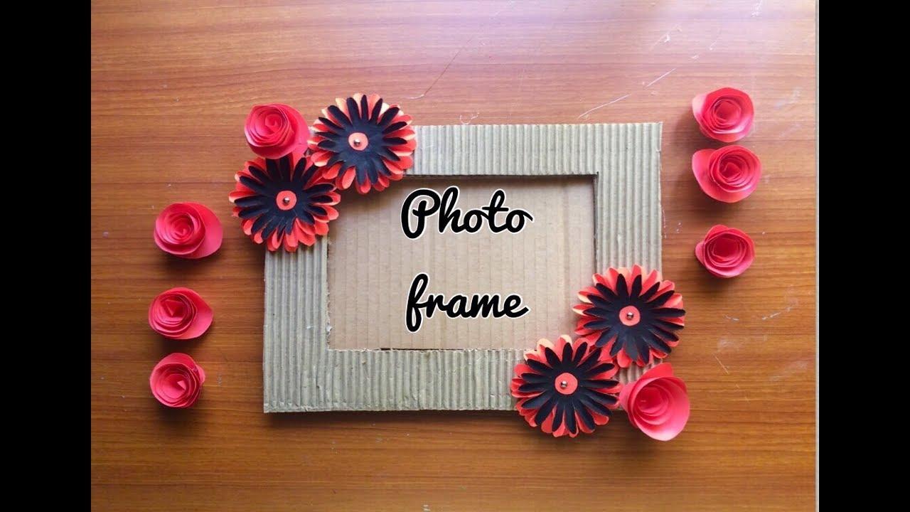 How To Make Origami Flowers Photo Frame Using Cardboard Glue Gun