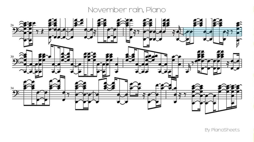 November Rain Piano Sheet Music Keninamas