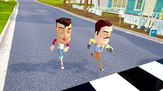 BIG HEAD PLAYER VS BIG HEAD NEIGHBOR RACES - Hello Neighbor