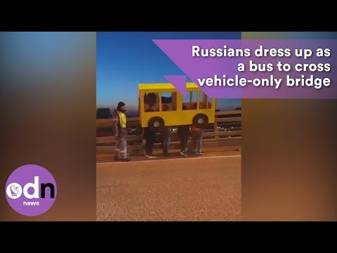 Emily - Four Russian Men Disguised As A Bus Try To Cross A Vehicle-Only Bridge