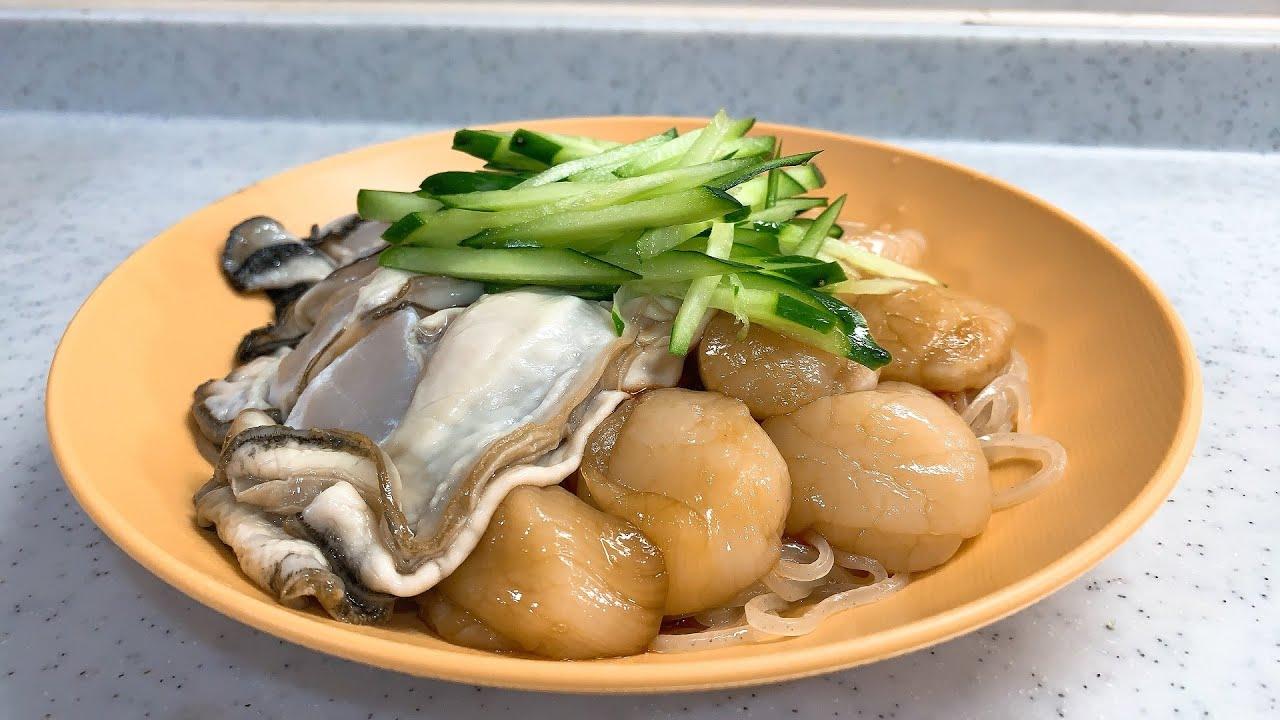 背徳の深夜11時カキとホタテ敷き詰めビビン冷麺!