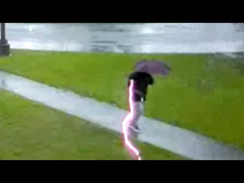 WATCH Security Camera Shows Man Getting Struck By Lightning