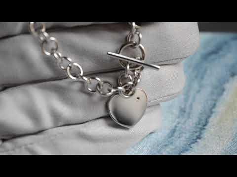 Женский золотой браслет с подвеской в виде сердца с бриллиантом