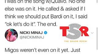 Nicki Minaj Responds To All The People Saying She Didnt Know Cardi Was On The Track!!