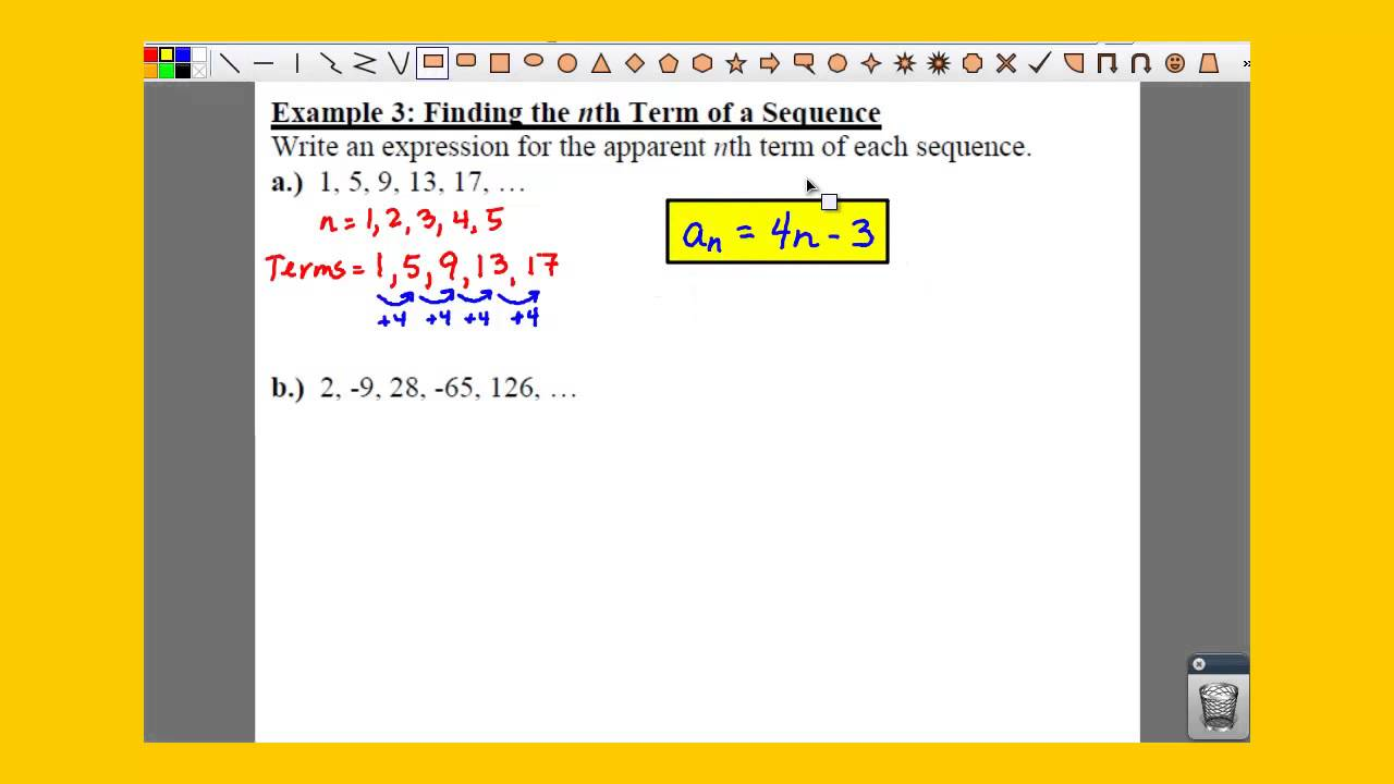 Write an expression for the nth term of the sequence