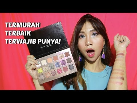 EYESHADOW PALETTE TERMURAH + TERCANTIK?! FOCALLURE 18 SHADES REVIEW, SWATCH + TUTORIAL