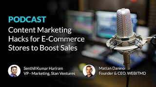 "Podcast ""SEO On-Air: Content Marketing Hacks For E-commerce Stores to Boost Sales"" w/ Mattan Danino"