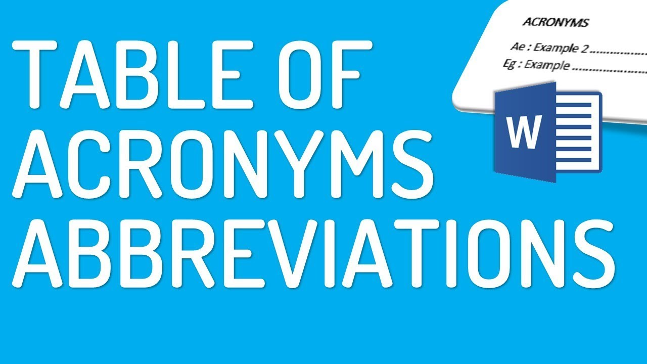 How To Make Table Of Acronyms Abbreviations In Word