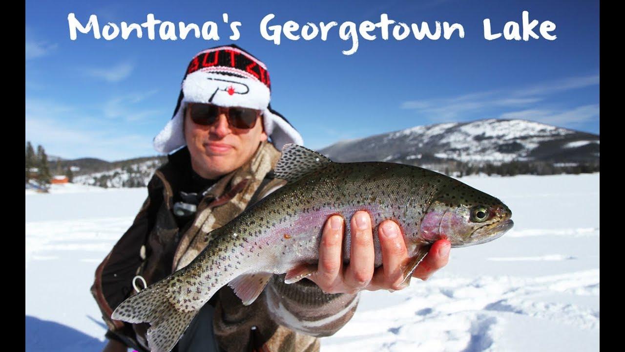 Ice fishing montana 39 s georgetown lake youtube for Lake georgetown fishing