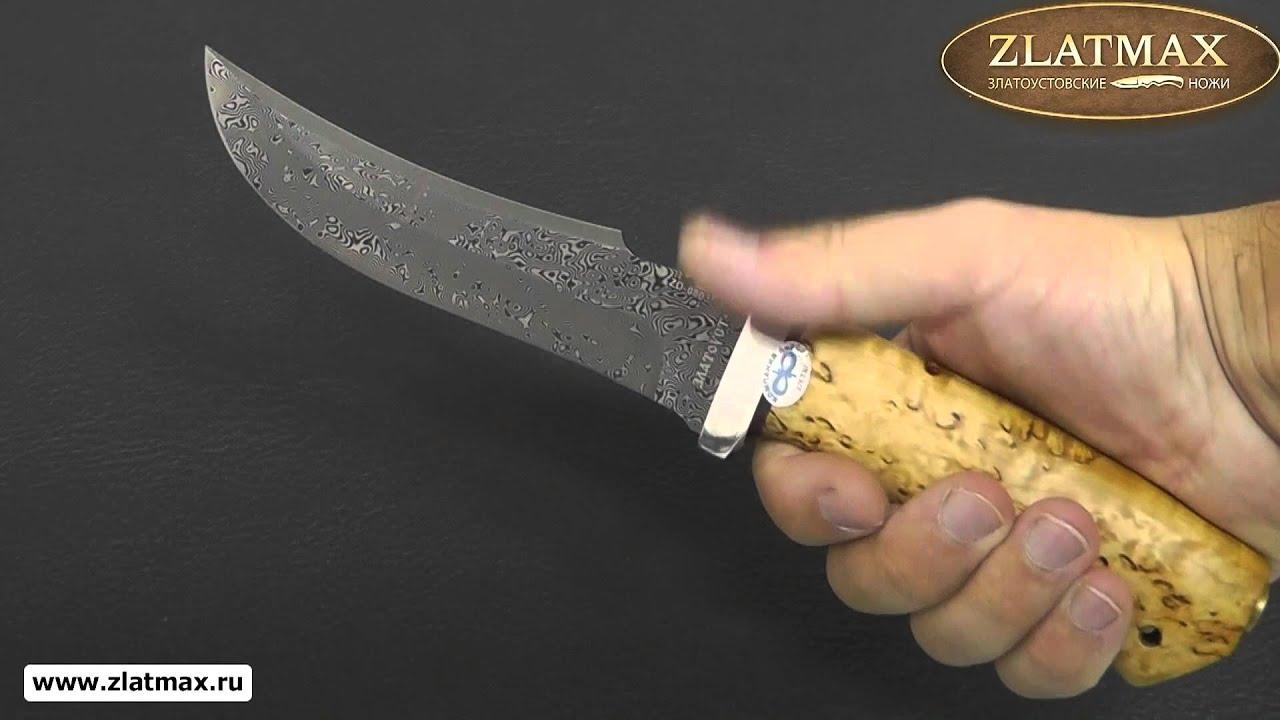 Видео Нож Клык (Дамаск ZD-0803, Карельская берёза, Алюминий)