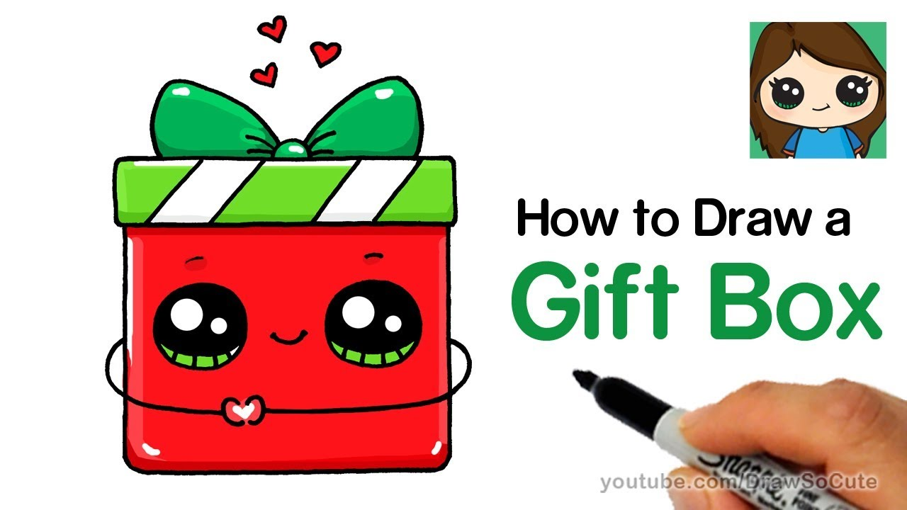Christmas Gift Box Drawing.How To Draw A Gift Box Present Easy Christmas Holiday