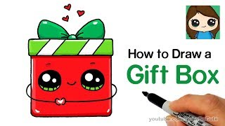How to Draw a Gift Box Present Easy | Christmas Holiday