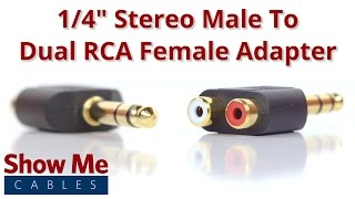 1/4 Inch Stereo Male To Dual RCA Female Adapter