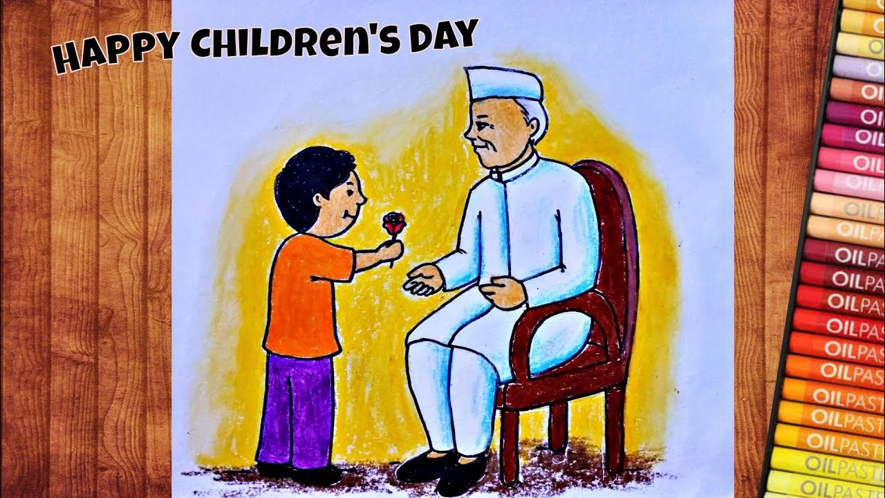 How to Draw Children's Day Easy Drawing   Jawaharlal Nehru ...