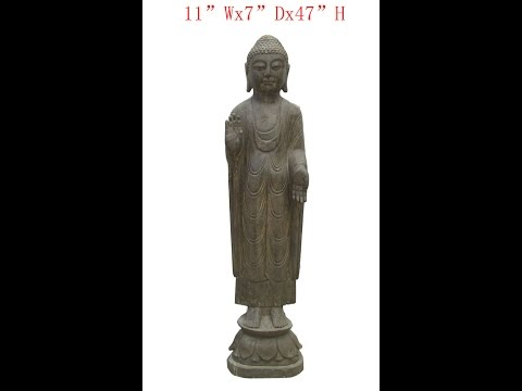 Chinese Antique Stone Standing Carving Buddha WK2939