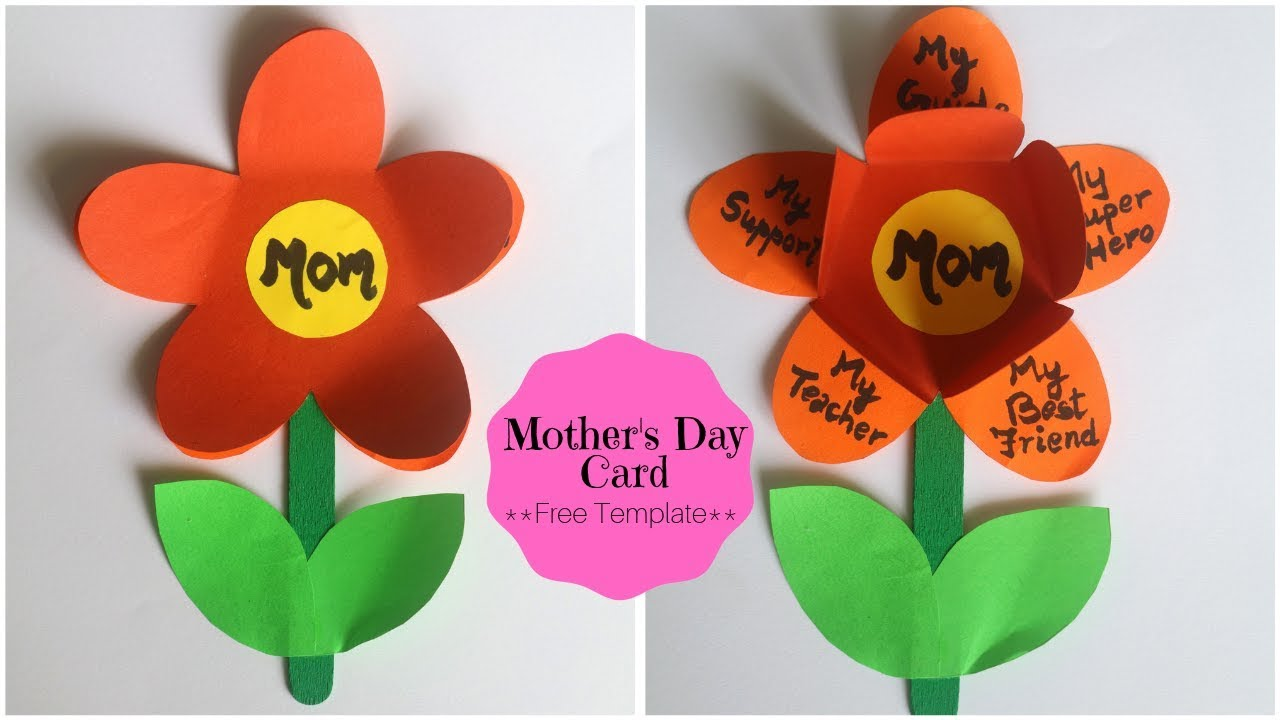 Mothers Day Card Easy Handmade Greetings Card With Free Flower Template Little Crafties Youtub Greeting Cards Handmade Flower Template Handmade Greetings