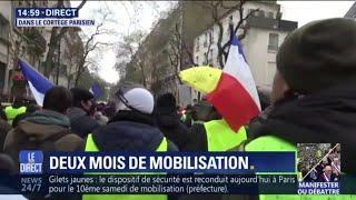 Gilets jaunes: la 10e mobilisation se passe dans le calme à Paris