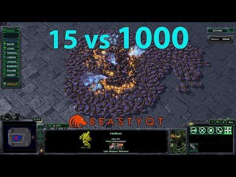 StarCraft 2: 15 Hellbats vs 1000 Drones!
