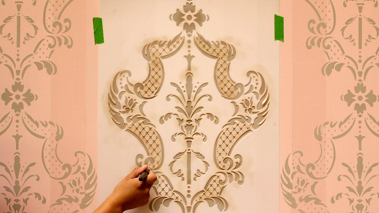 how to stencil tutorial paint an accent wall with ombre stripes damask wall stencils youtube - Design Stencils For Walls