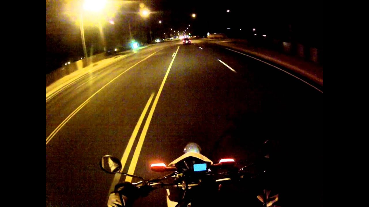 Yamaha XT250 night time wheelies and ride home with GoPro Camera