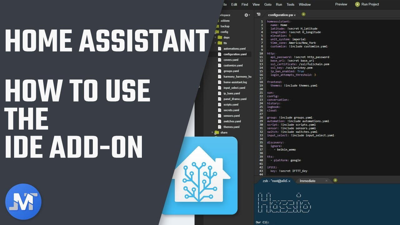 How To use the Home Assistant IDE add-on