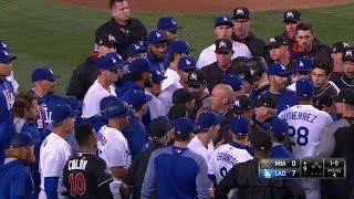 MIA@LAD: Stripling throws at Stanton, benches clear