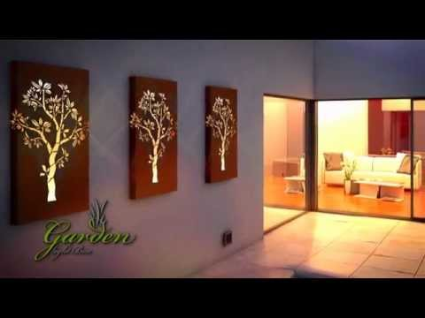 Metal wall art garden light box youtube for Art decoration fr