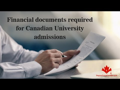 Financial documents required for Canadian University admissions