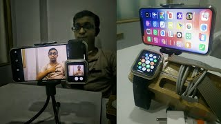 Sycronizing of iPhone X and apple watch | By Chaitanya | Woodenstand,wireless charger, watch belt