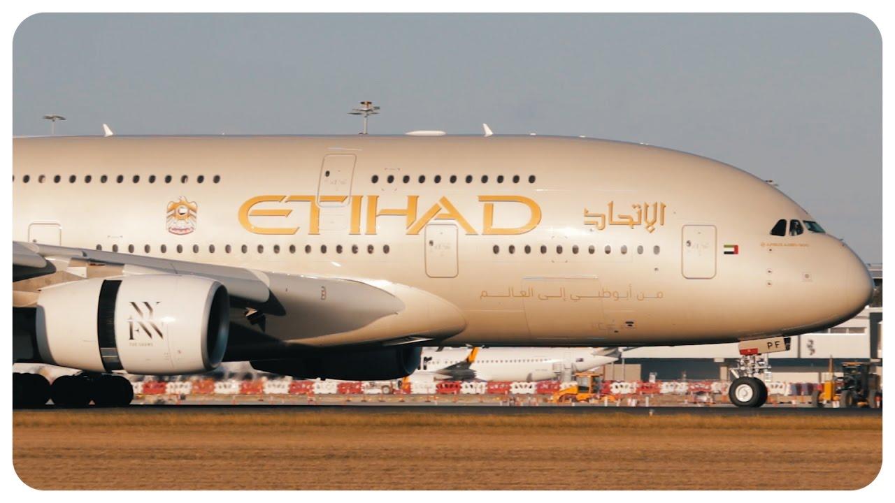 Etihad Airways Airbus A380 Landing Abu Dhabi To