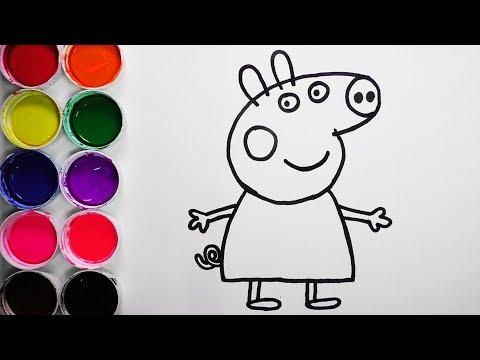 Dibuja y Colorea Peppa Pig de Arco Iris - Dibujos Para Niños - Learn Colors / FunKeep