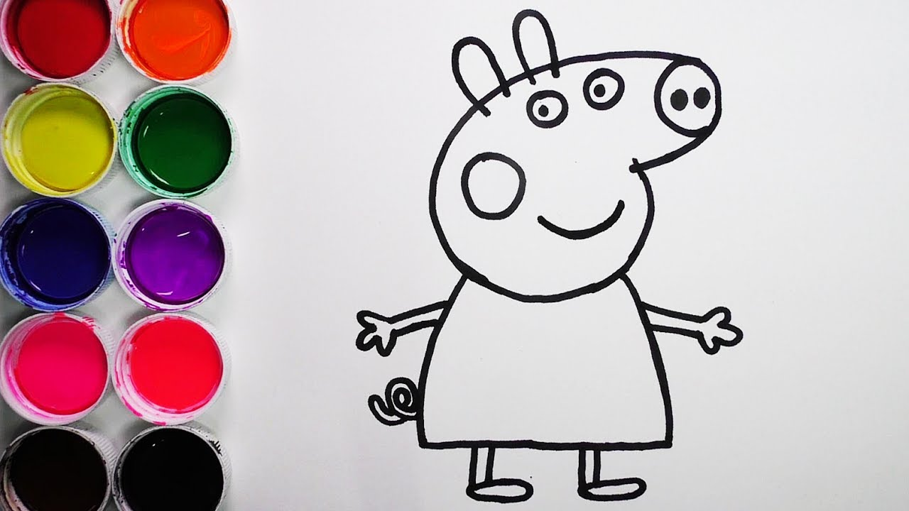 Dibuja Y Colorea Peppa Pig De Arco Iris Dibujos Para Niños Learn Colors Funkeep