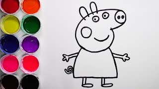 Dibuja y Colorea Peppa Pig de Arco Iris - Dibujos Para Niños - Learn Colors / FunKeep