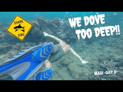 WE DOVE TOO DEEP IN MAUI SHARK INFESTED WATER! (SCARY!)