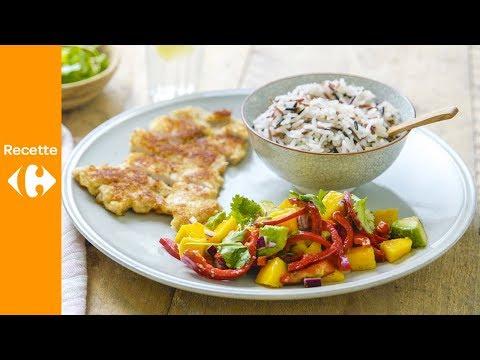 escalope-de-veau-panée,-salsa-de-mangue-et-riz