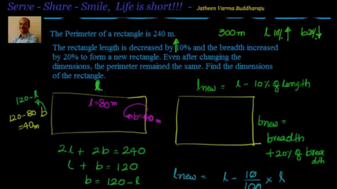 Linear Equations In One Variable: Modified Rectangle With Same Perimeter  Example