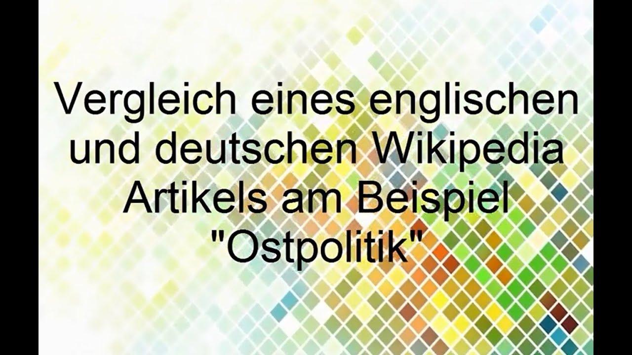 Geschichte In Der Wikipedia Analyse Der Artikel Ostpolitik